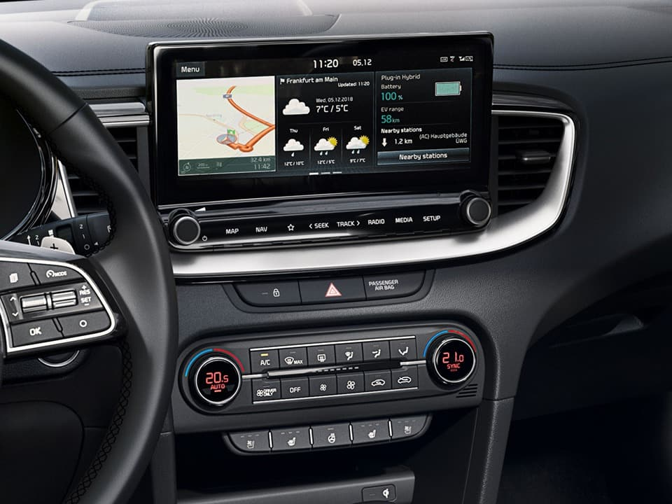 kia xceed plug-in hybrid navigationssystem mit 10,25-zoll-touchscreen